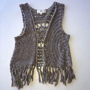 Patrons of Piece Grey Crochet Vest Size Medium